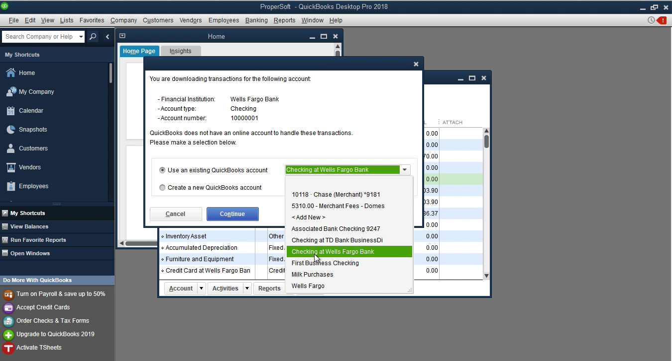 CSV2QBO Windows Step 15: select an existing account in Quickbooks