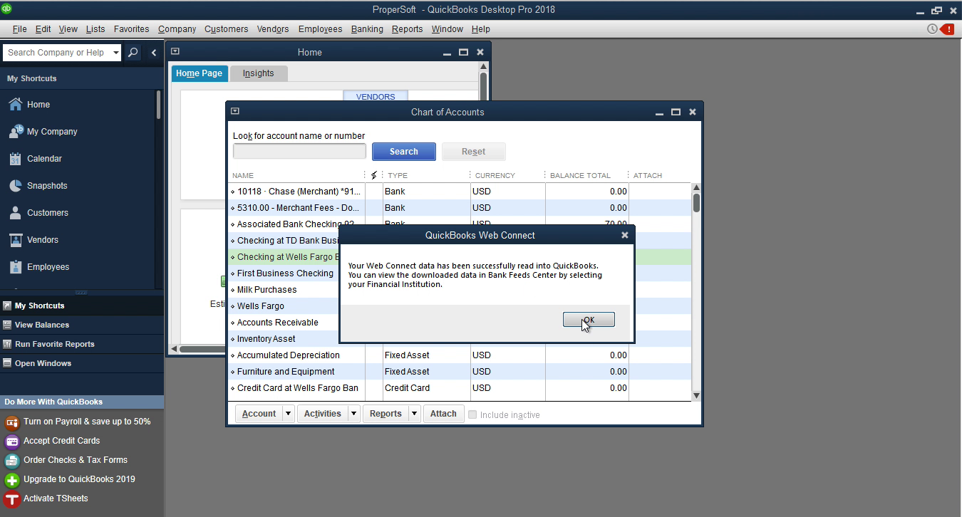CSV2QBO Windows Step 16: data is imported in Quickbooks