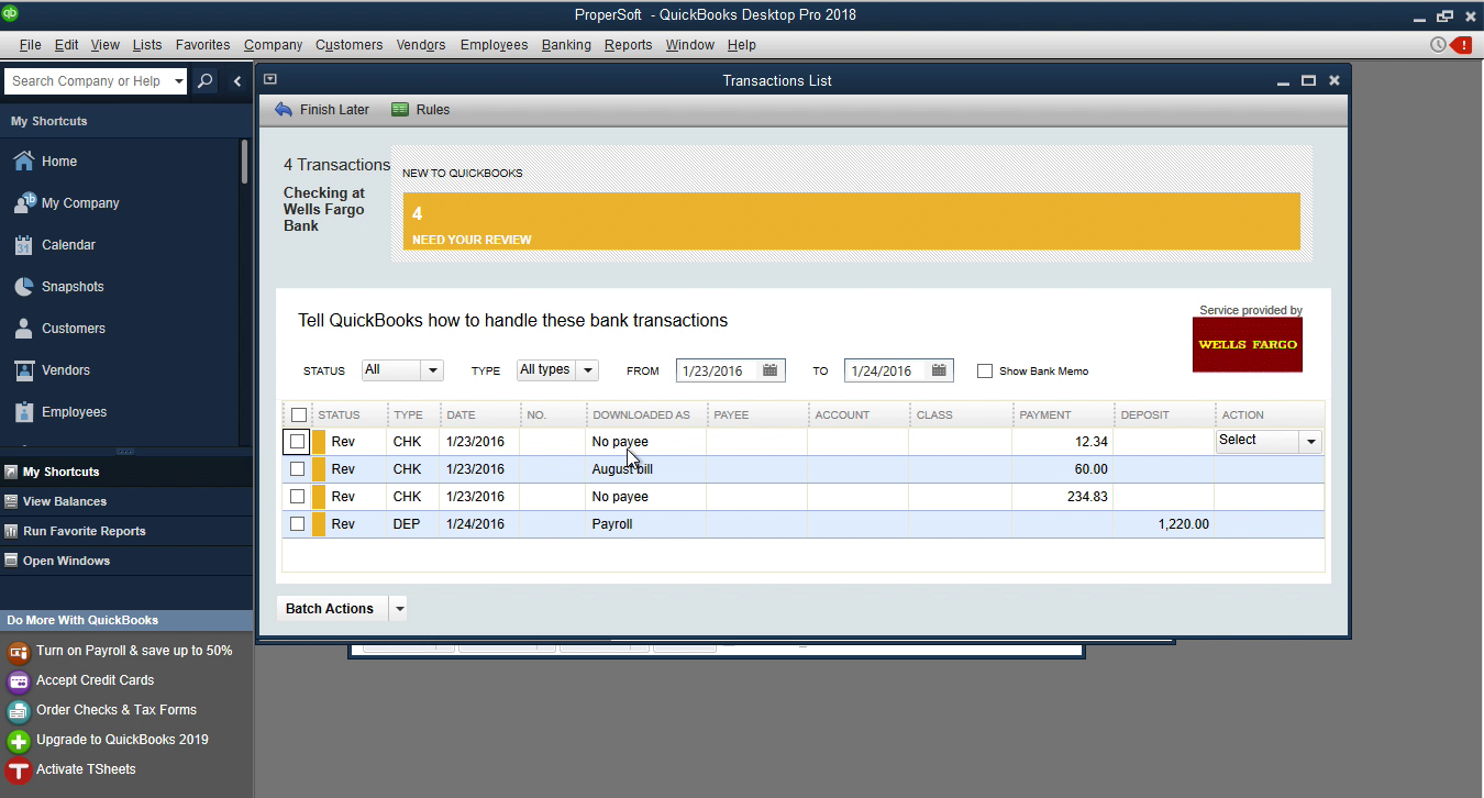 CSV2QBO Windows Step 18: downloaded as column in Quickbooks