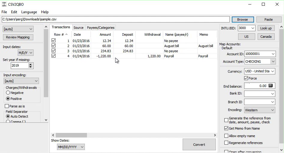 CSV2QBO Windows Step 2: review transactions before converting