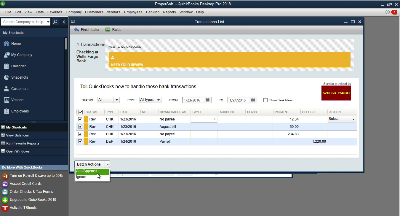 CSV2QBO Windows Step 20: add transactions to the register in Quickbooks