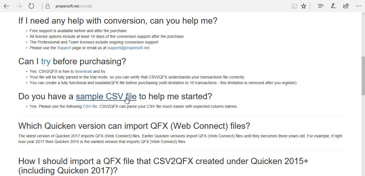 CSV2QFX: Convert CSV to QFX (Web Connect) and import into Quicken 2017 Step 1: product page