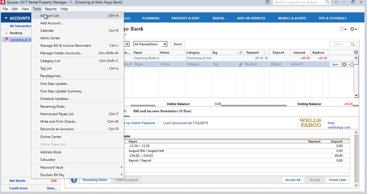 CSV2QFX: Convert CSV to QFX (Web Connect) and import into Quicken 2017 Step 16: tools, account list