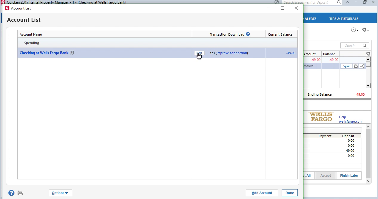 CSV2QFX: Convert CSV to QFX (Web Connect) and import into Quicken 2017 Step 17: account list