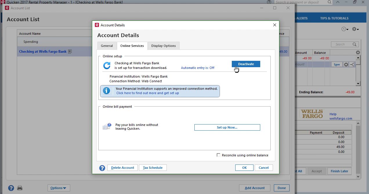 CSV2QFX: Convert CSV to QFX (Web Connect) and import into Quicken 2017 Step 18: deactivate account