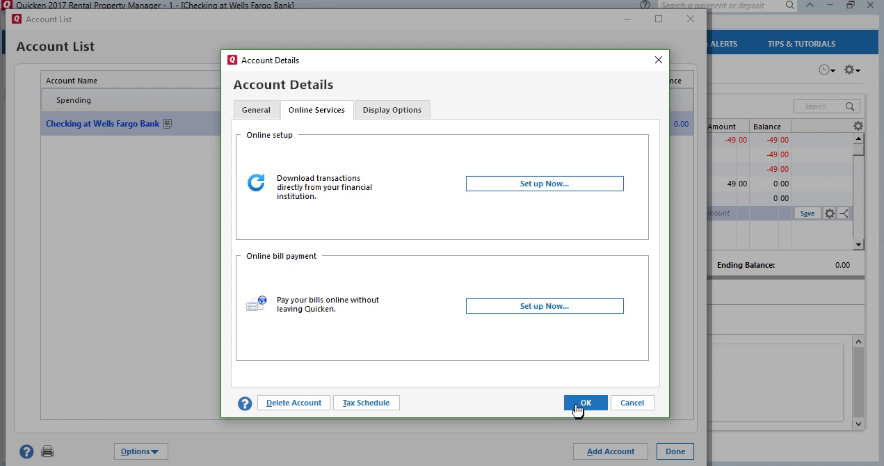 CSV2QFX: Convert CSV to QFX (Web Connect) and import into Quicken 2017 Step 21: account details