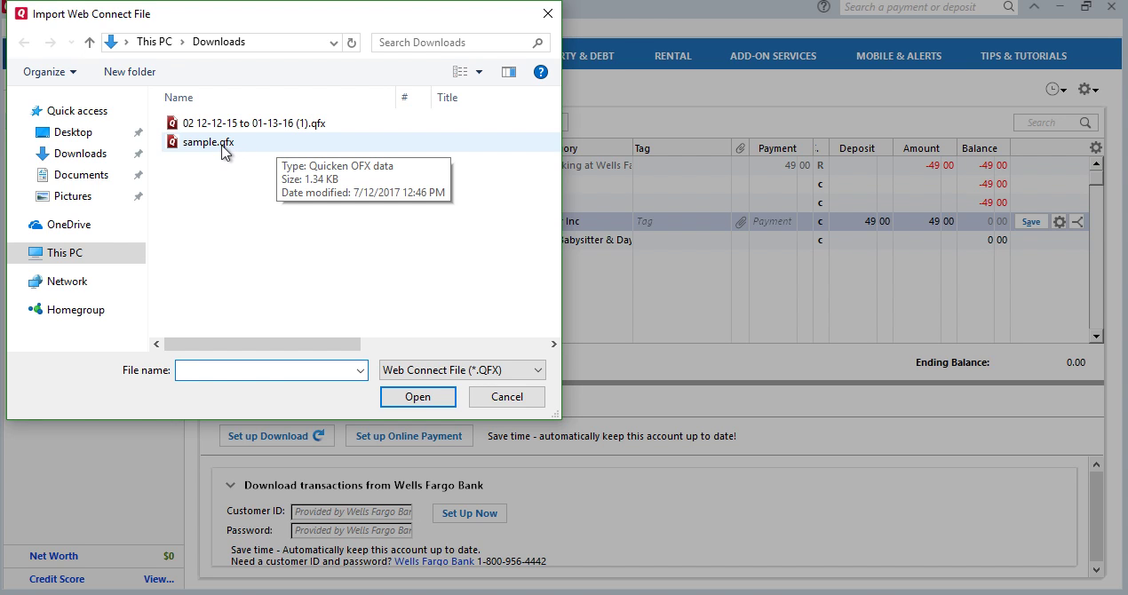 CSV2QFX: Convert CSV to QFX (Web Connect) and import into Quicken 2017 Step 23: select sample qfx