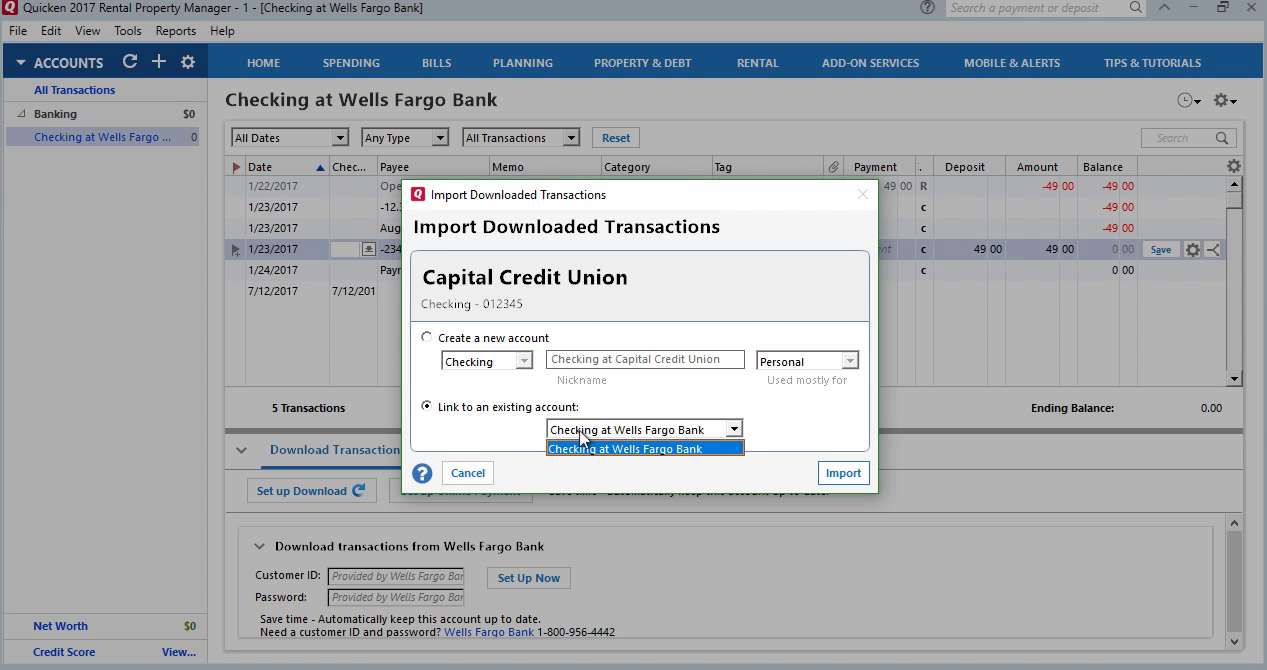 CSV2QFX: Convert CSV to QFX (Web Connect) and import into Quicken 2017 Step 24: link to existing