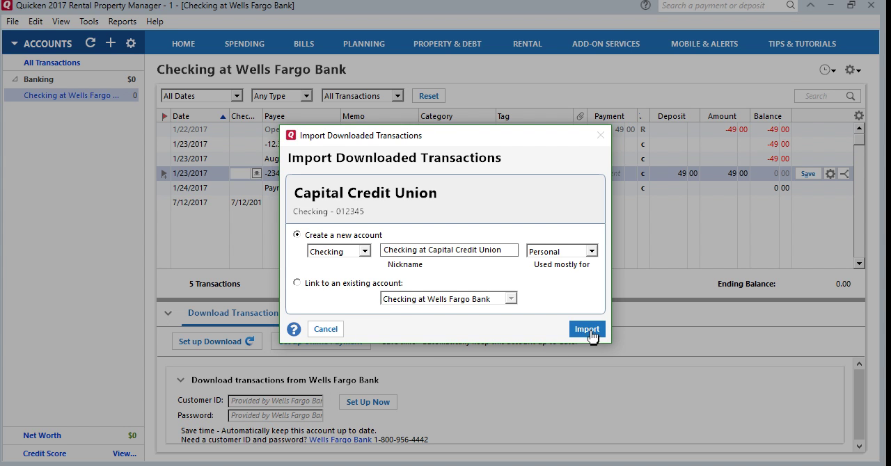 CSV2QFX: Convert CSV to QFX (Web Connect) and import into Quicken 2017 Step 25: import transactions