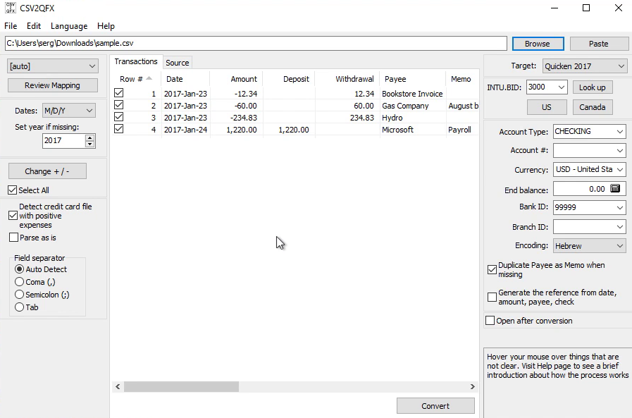 CSV2QFX: Convert CSV to QFX (Web Connect) and import into Quicken 2017 Step 4: review csv2qfx