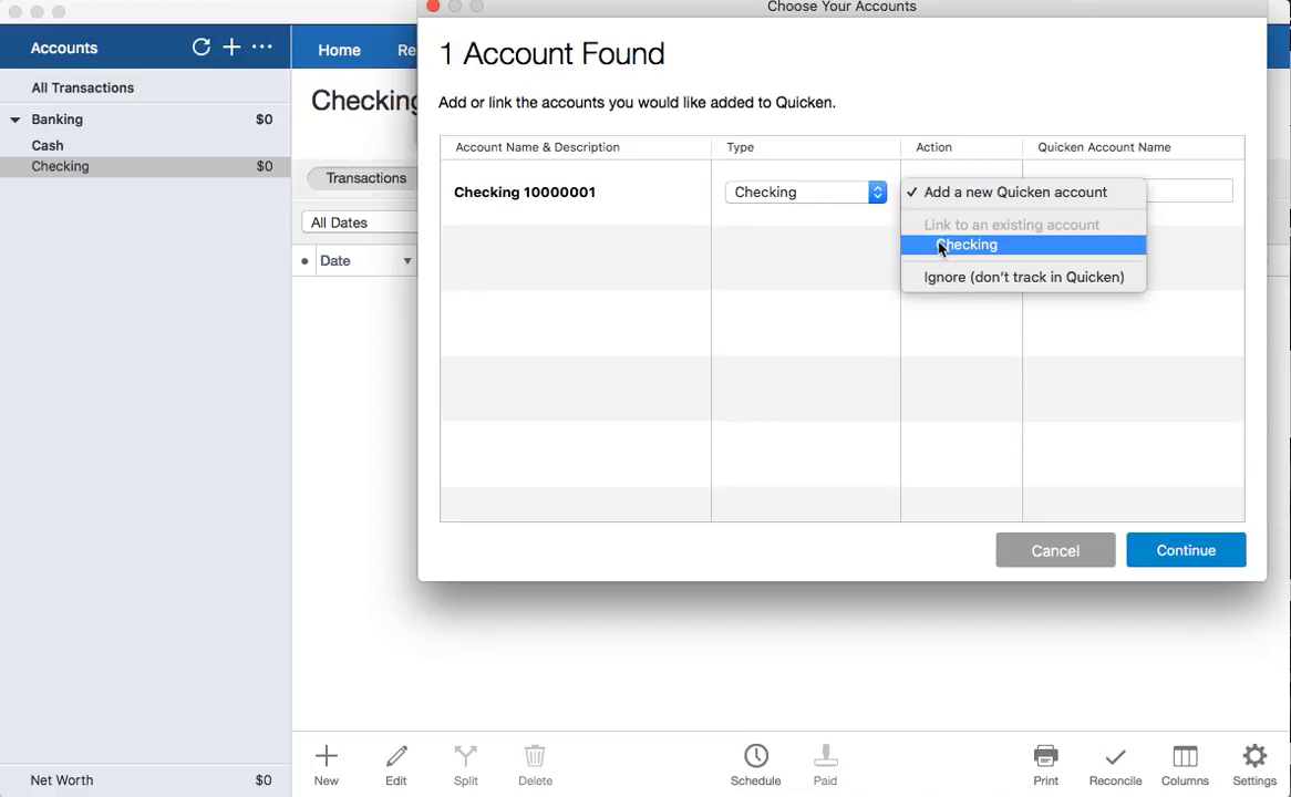 CSV2QFX Mac Step 13: link to the existing account in Quicken