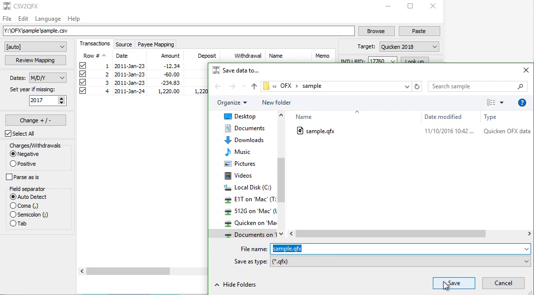CSV2QFX Windows Step 10: file name and location, save