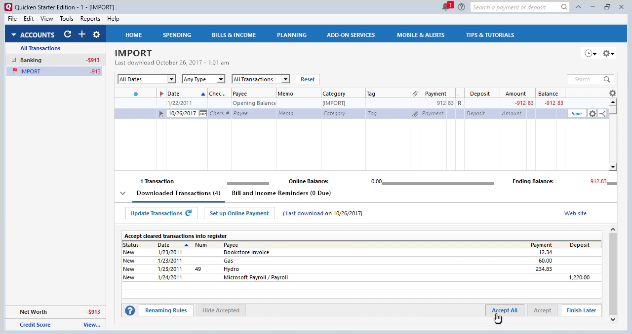 CSV2QFX Windows Step 15: accept all transactions in Quicken
