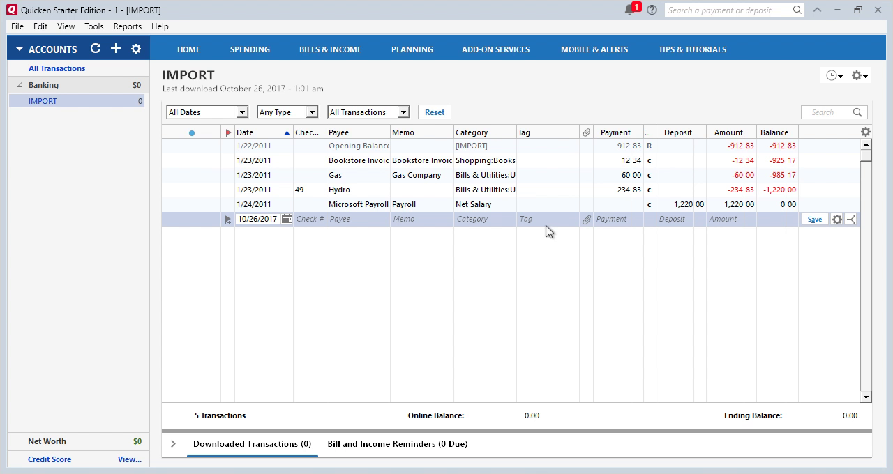 CSV2QFX Windows Step 16: review transactions in Quicken