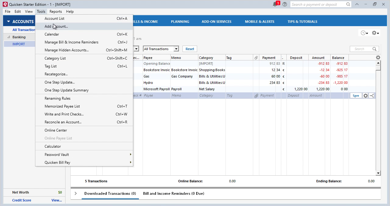 CSV2QFX Windows Step 17: another account in Quicken