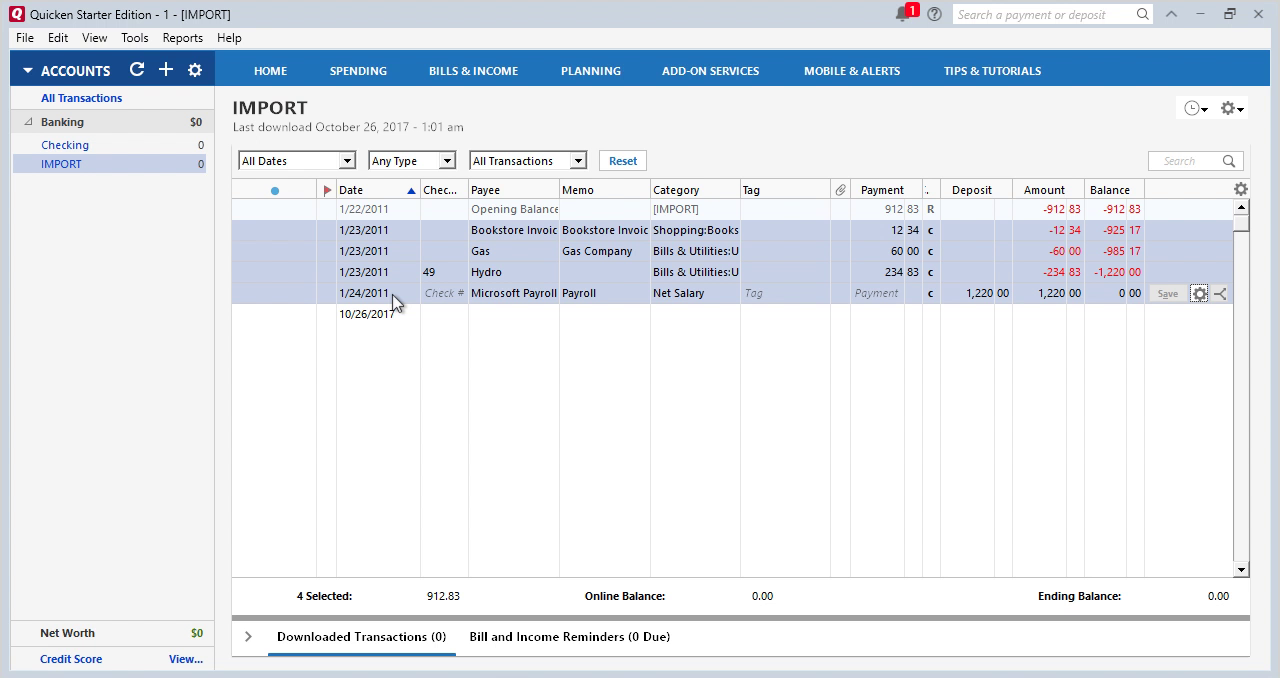 CSV2QFX Windows Step 21: select transactions in Quicken