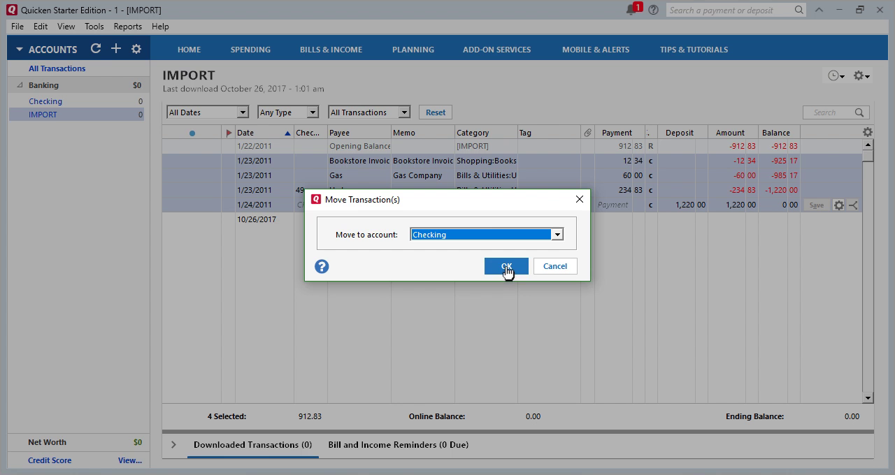 CSV2QFX Windows Step 23: click ok to move transactions to Checking in Quicken