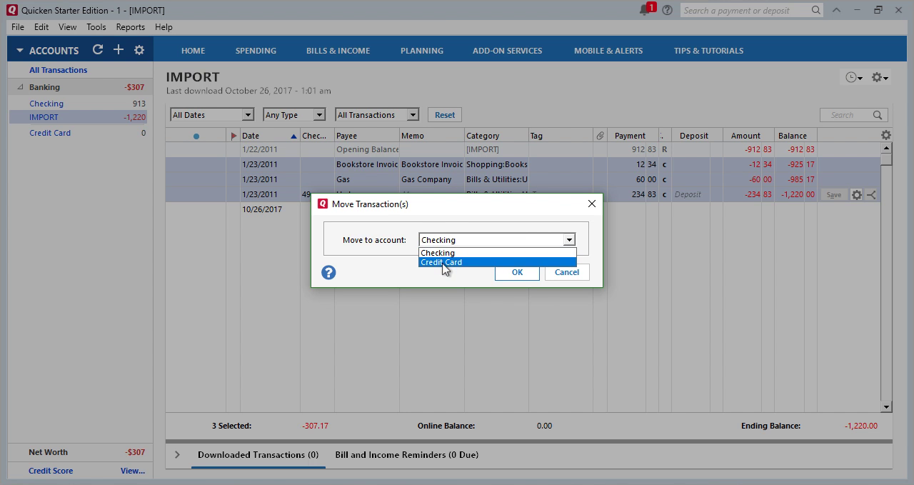 CSV2QFX Windows Step 29: Move transactions to Credit Card in Quicken