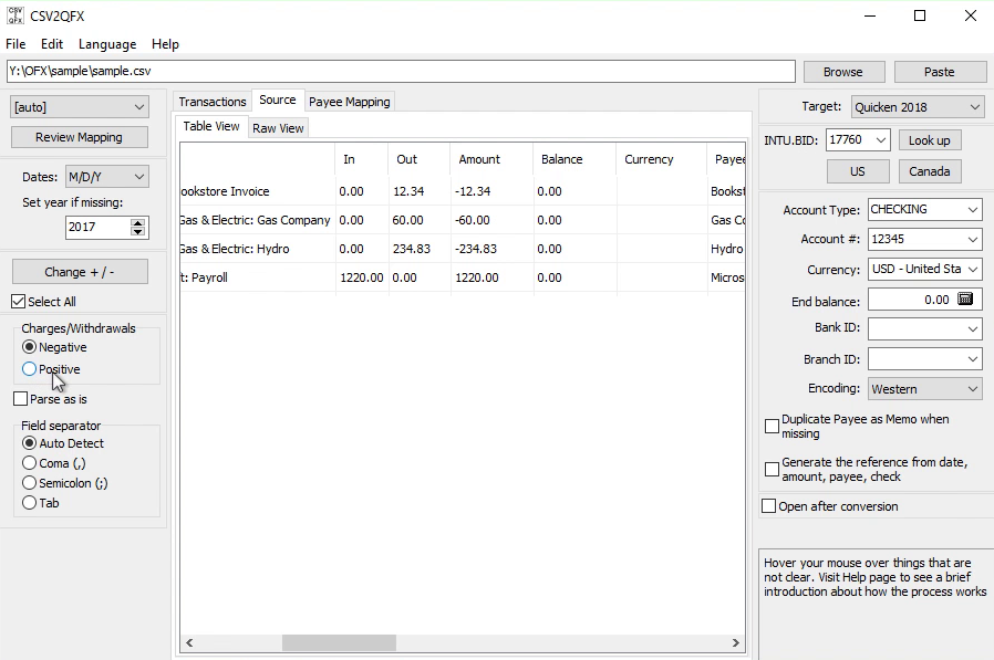 CSV2QFX Windows Step 3: Charges