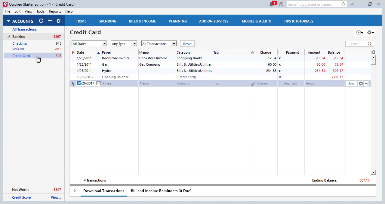 CSV2QFX Windows Step 30: transactions under Credit Card Account in Quicken