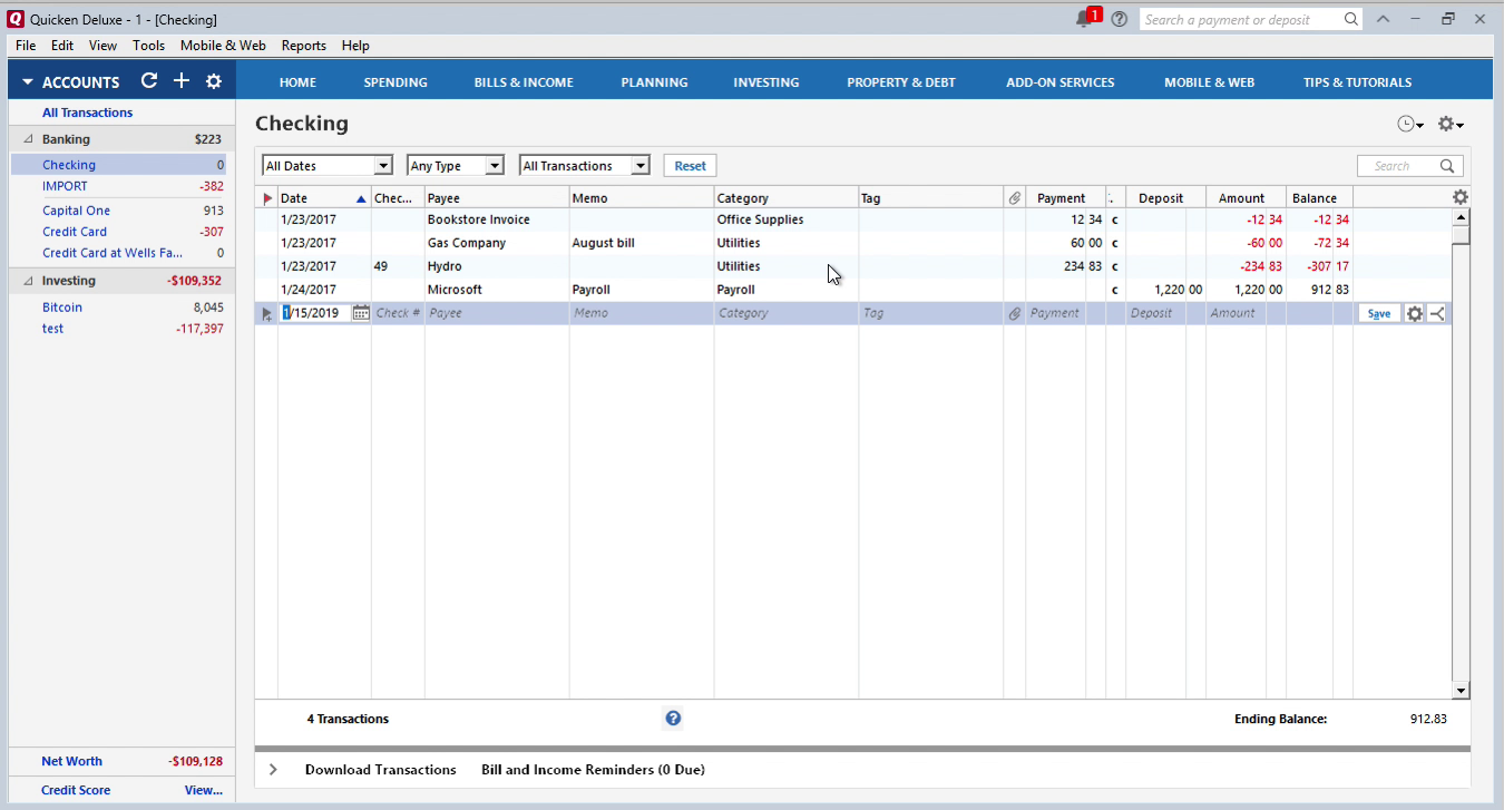 CSV2QIF Windows Step 13: data is imported in Quicken