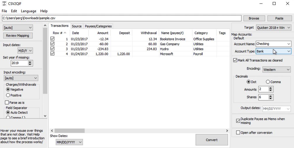CSV2QIF Windows Step 6: Account name and the Account type