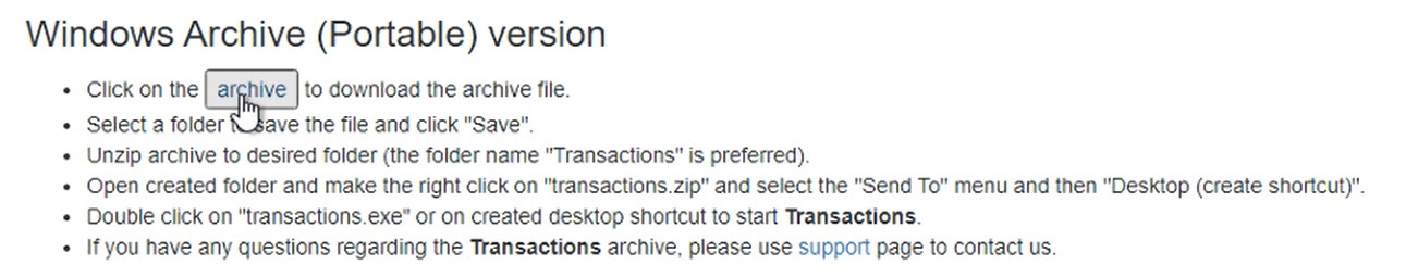 How to download a ProperSoft converter Windows Step 4: archive button