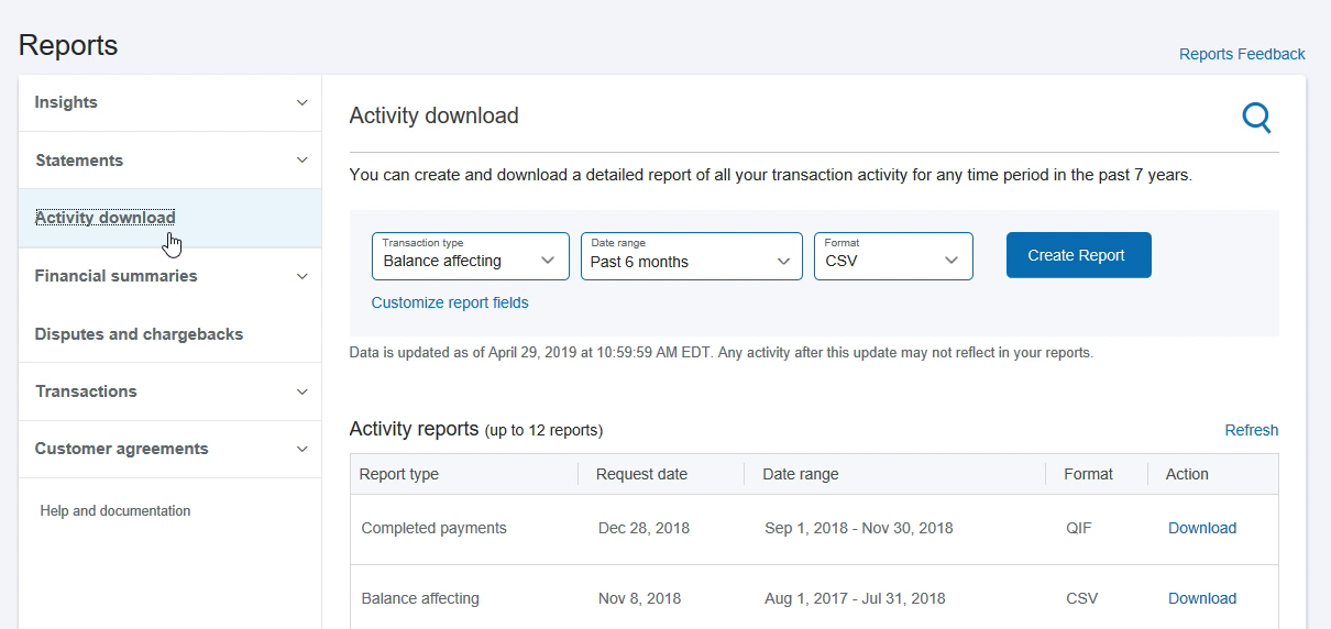 EXPORTCSVPAYPAL Step 2: Activity download in Paypal