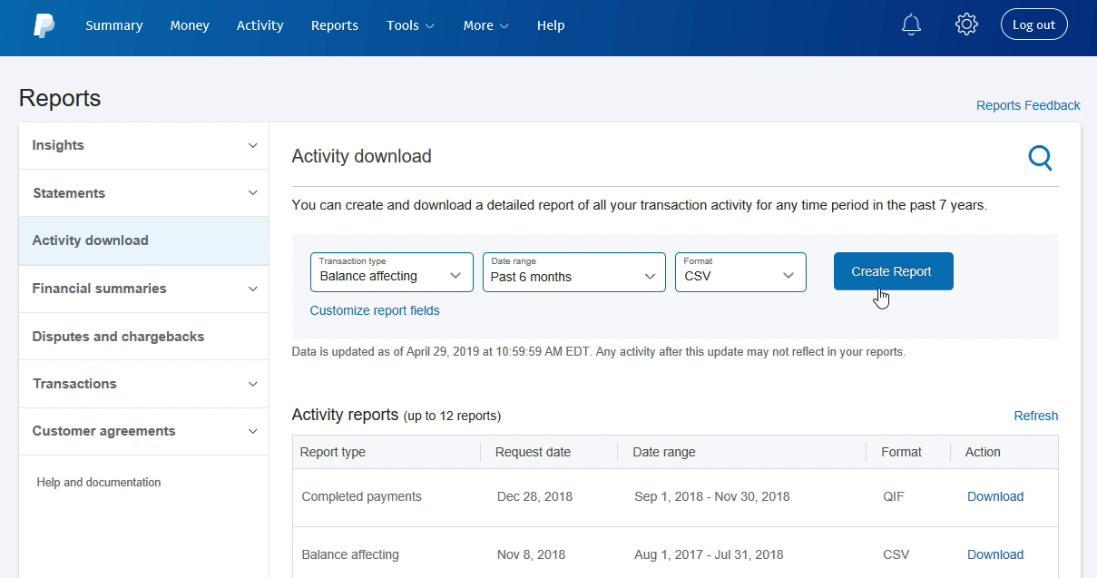 EXPORTCSVPAYPAL Step 6: Create Report in Paypal