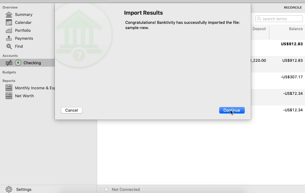FixMyQIF Mac Step 10: import results in Banktivity