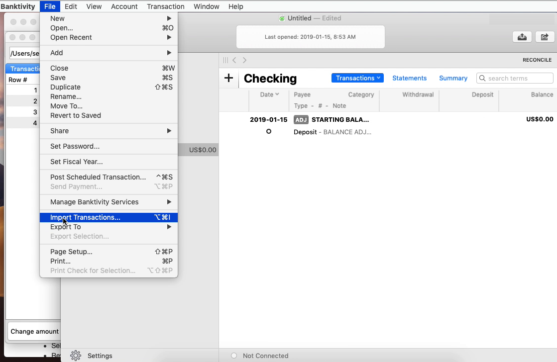 FixMyQIF Mac Step 8: import transactions in Banktivity