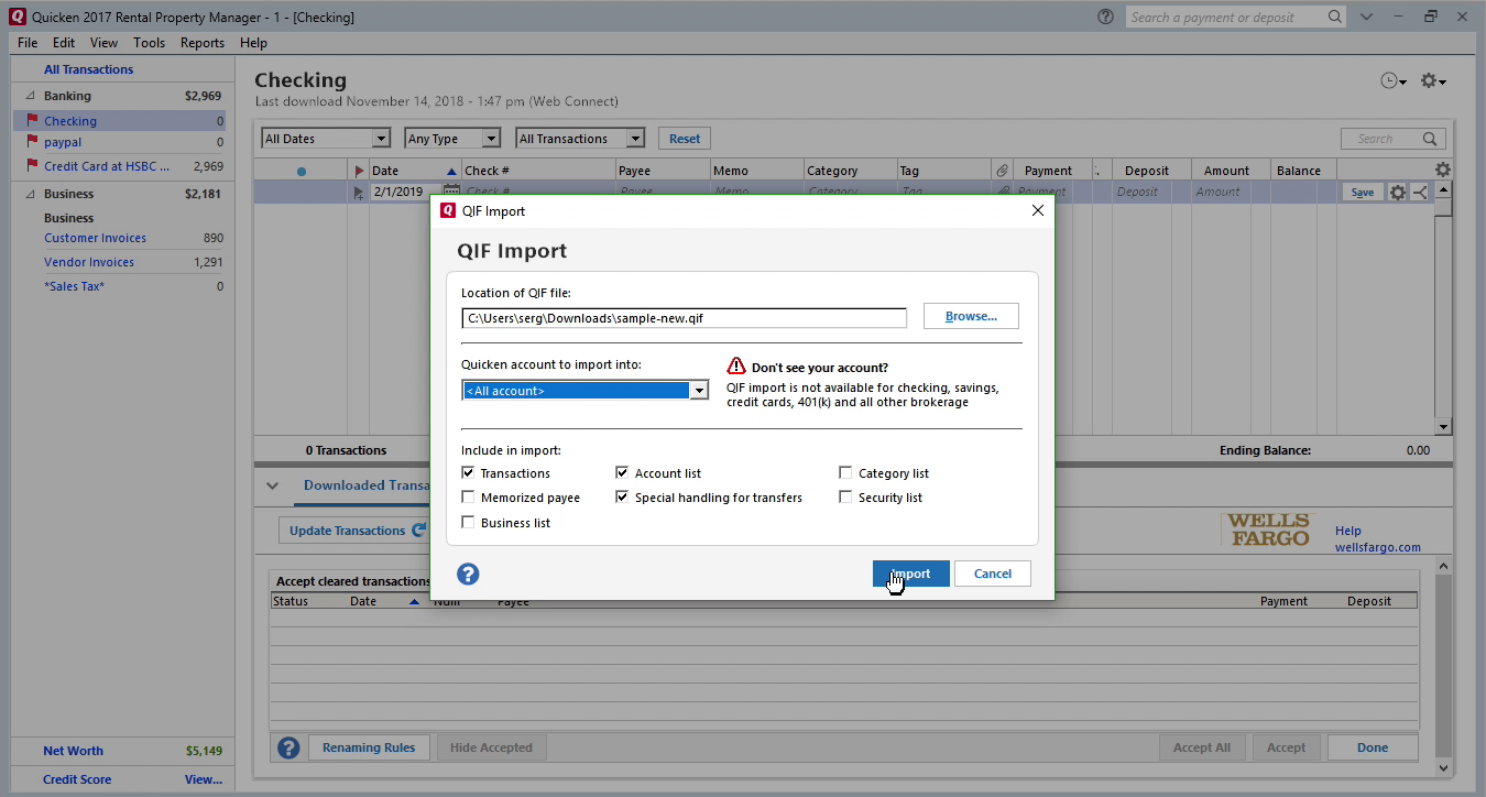 FixMyQIF Windows Step 10: click import in Quicken