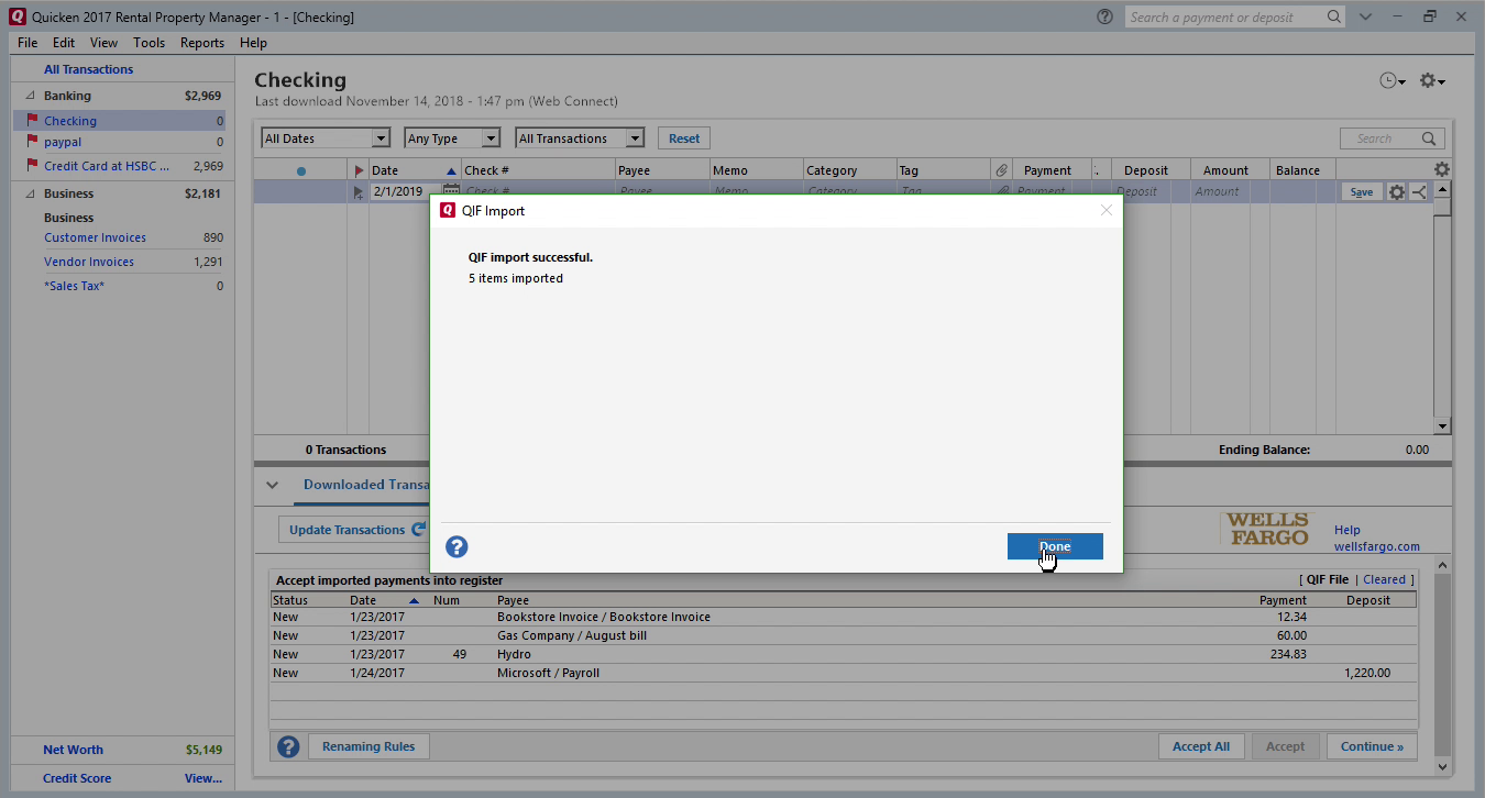 FixMyQIF Windows Step 11: QIF import successful in Quicken