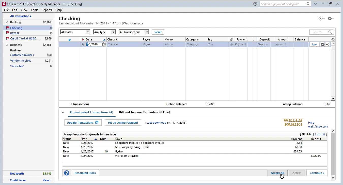 FixMyQIF Windows Step 12: data is imported in Quicken