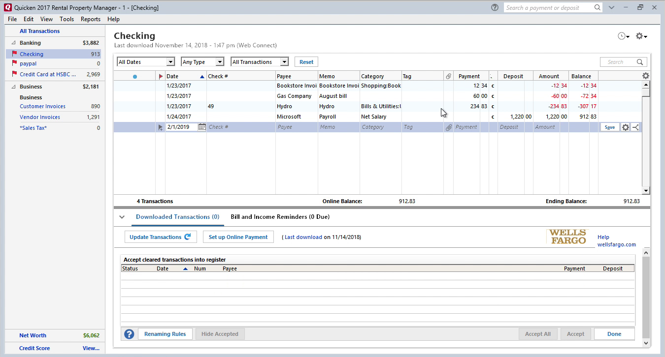 FixMyQIF Windows Step 13: Review transaction after import in Quicken
