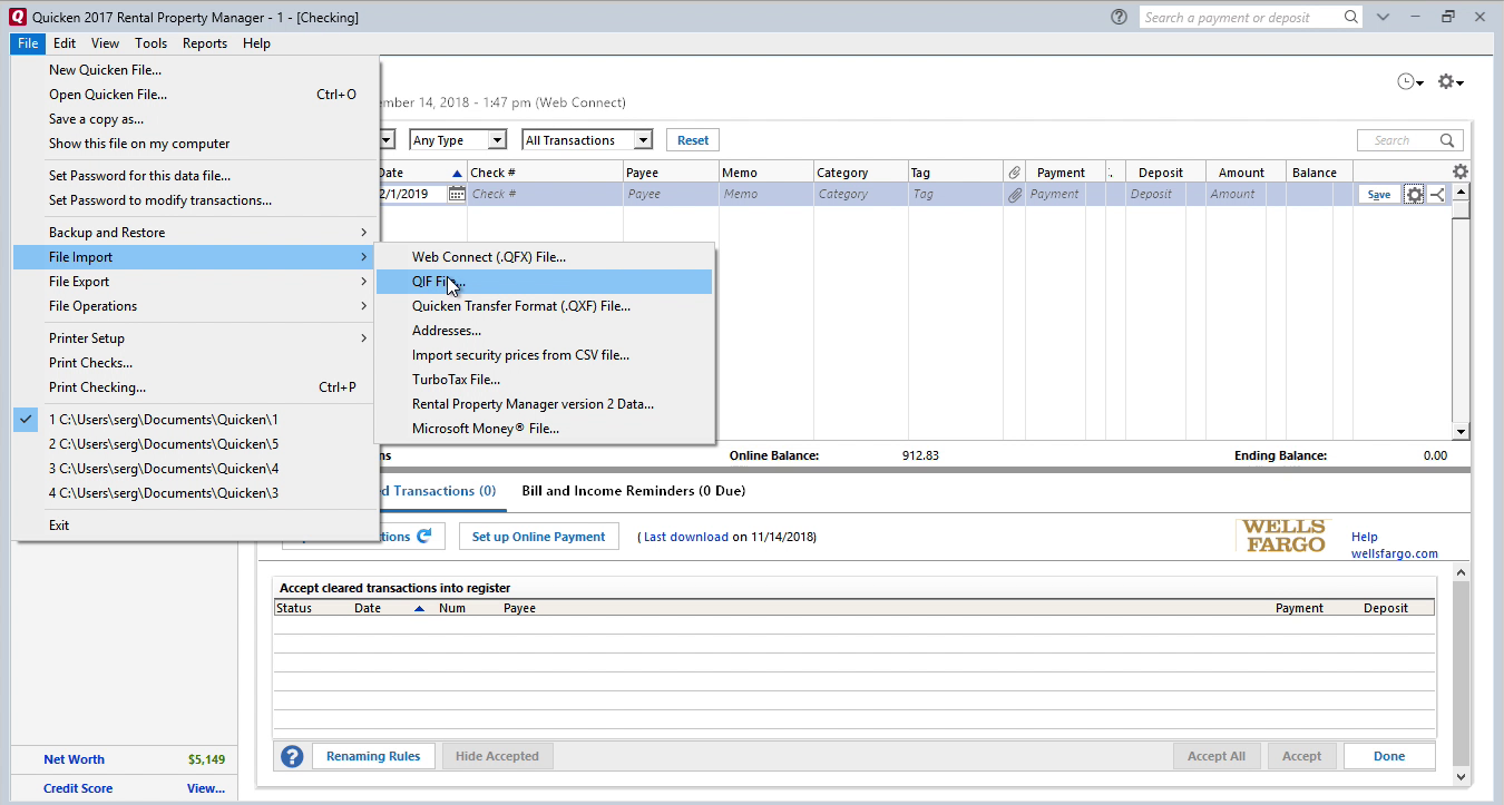 FixMyQIF Windows Step 8: file import in Quicken
