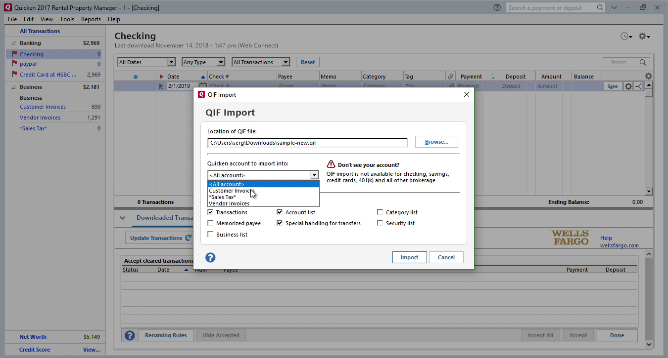 FixMyQIF Windows Step 9: all accounts in Quicken