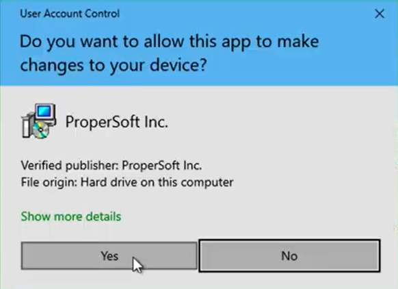 How to install a ProperSoft converter Win Step 2: Click Yes