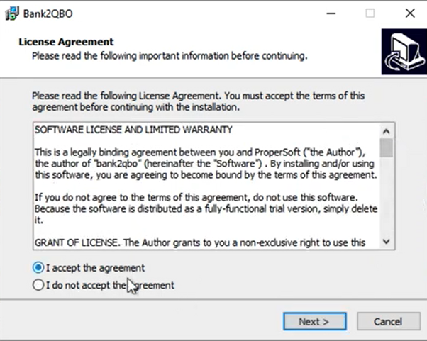 How to install a ProperSoft converter Win Step 4: Accept the agreement