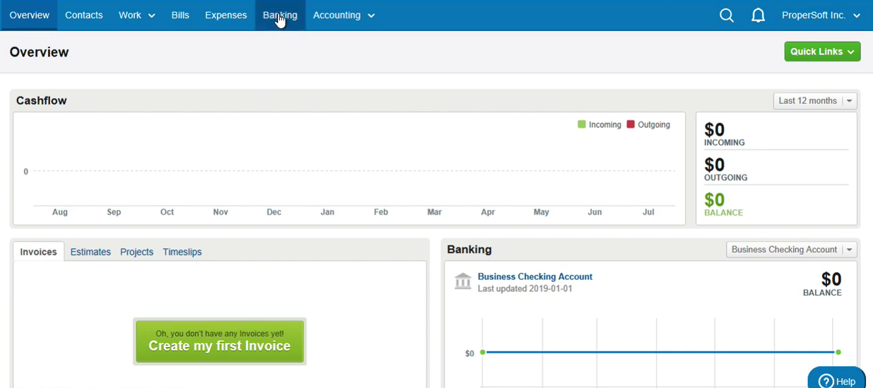 Import CSV as OFX into FreeAgent Step 1: click Banking