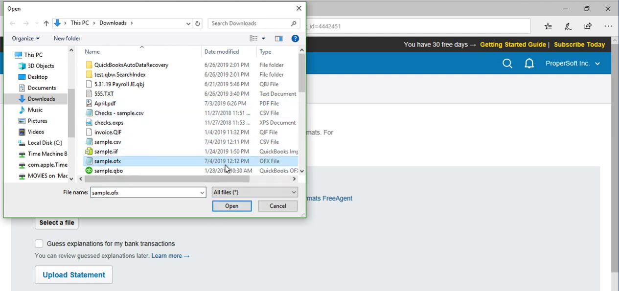 Import CSV as OFX into FreeAgent Step 18: select ofx file