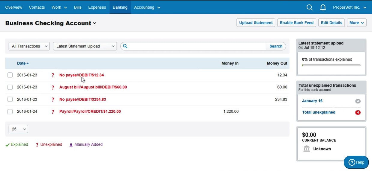 Import CSV as OFX into FreeAgent Step 20: statement with 4 new transactions