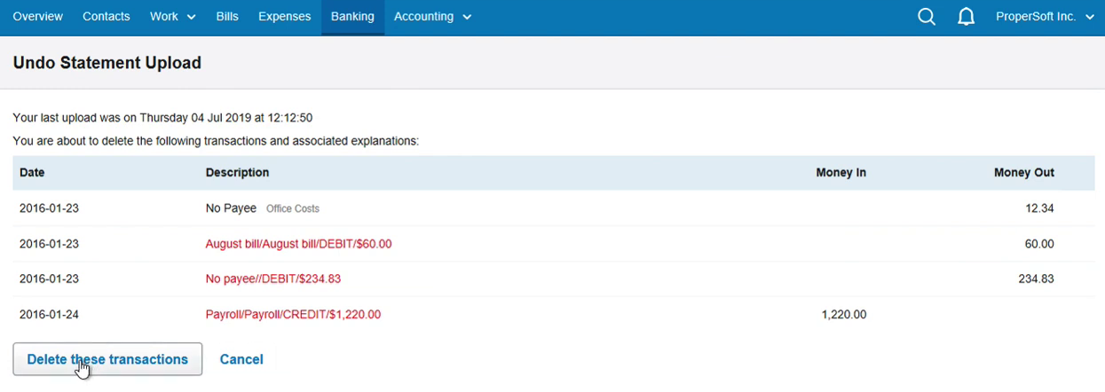 Import CSV as OFX into FreeAgent Step 25: Delete these transactions