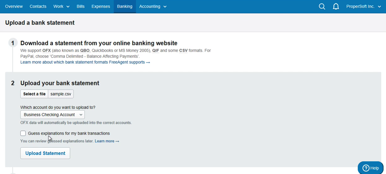 Import CSV as OFX into FreeAgent Step 7: Guess explanations for my bank transactions