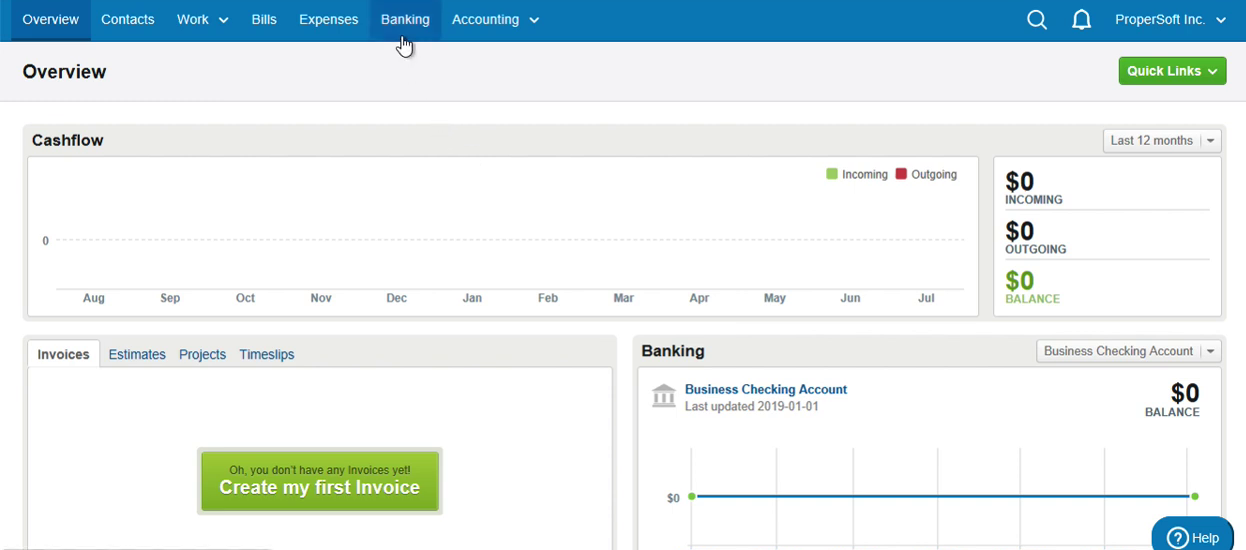 Import CSV into FreeAgent Step 1: click Banking