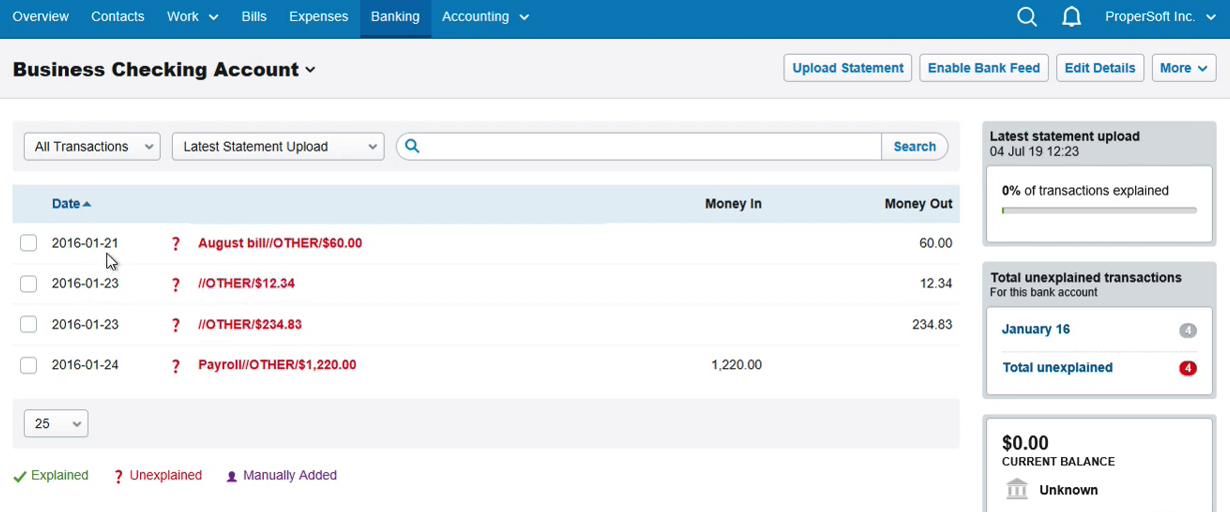Import CSV into FreeAgent Step 15: statement with 4 new transactions