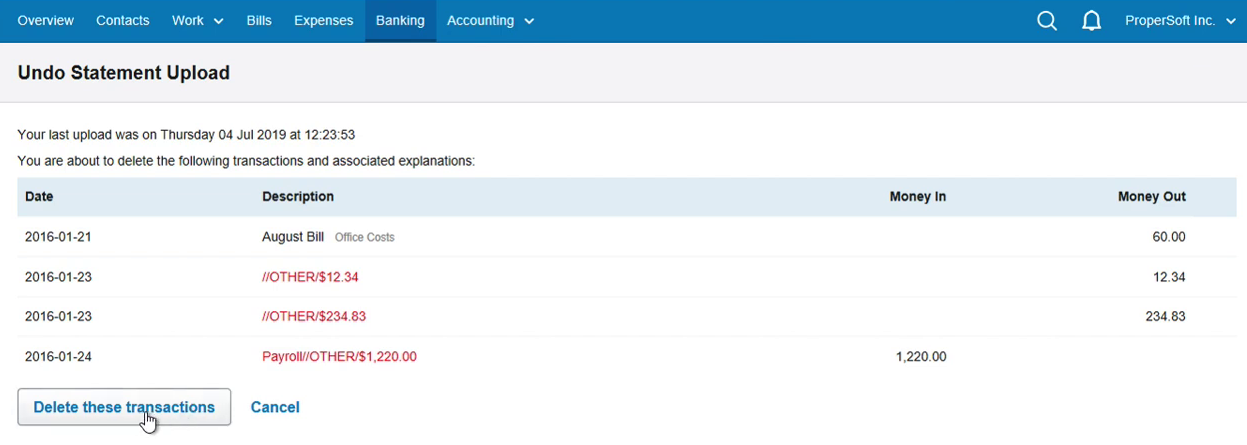 Import CSV into FreeAgent Step 18: Delete these transactions