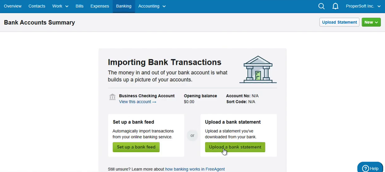 Import CSV into FreeAgent Step 2: click Upload a bank statement