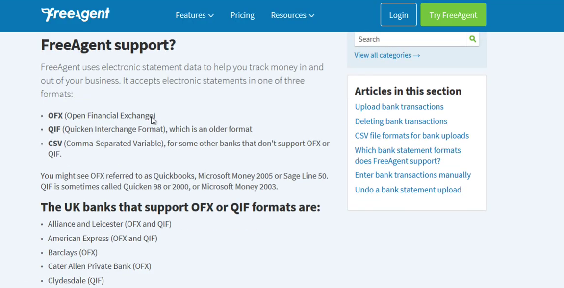 Import CSV into FreeAgent Step 9: supported formats