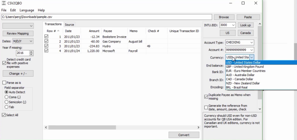 How to import CSV or Excel files as QBO into Quickbooks Step 16: currency
